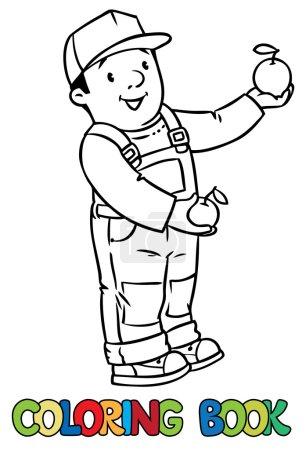 Illustration pour Livre à colorier de fermier ou jardinier drôle dans l'ensemble et casquette de baseball avec des pommes dans ses mains. Série Profession. Illustration vectorielle enfants . - image libre de droit