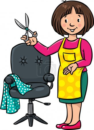 Photo for Children vector illustration of funny woman hairdresser with scissors near the barber chair. Profession ABC series. - Royalty Free Image