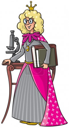 Illustration pour Illustration vectorielle pour enfants d'une scientifique féminine aux cheveux bouclés blonds debout avec des livres près de la table au microscope - image libre de droit