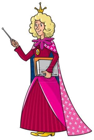 Illustration pour Illustration vectorielle pour enfants d'une enseignante aux cheveux bouclés blonds debout avec des livres et un pointeur - image libre de droit