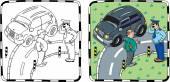 Policeman and car driver Coloring book