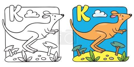 Little kangaroo coloring book. Alphabet K