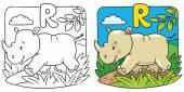 Little rhino coloring book Alphabet R