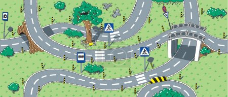 Photo for Big seamless pattern or background of roads with crossings, bends and road signs - Royalty Free Image