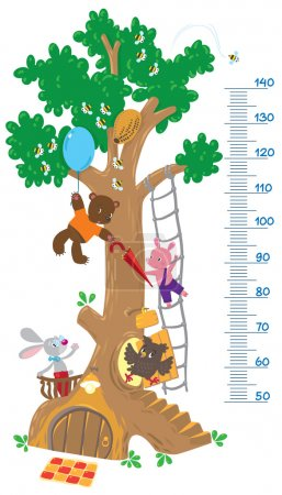 Meter wall with big tree and funny animals
