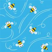 Seamless pattern with funny bees