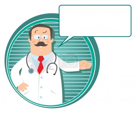 Illustration for Design template or emblem with funny man doctor in white coat with stethoscope, showing by hand, on round background with lines and balloon for text - Royalty Free Image