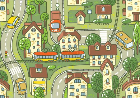 Illustration for Seamless vector background pattern with streets, tram rails, roads, houses and trees - Royalty Free Image
