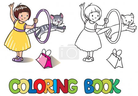 Girl playing with cat. Coloring book