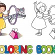 Постер, плакат: Girl playing with cat Coloring book
