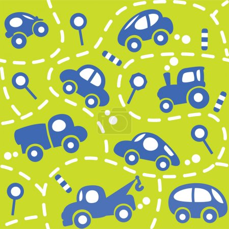 Illustration for Seamless vector background of small funny vector cars and signs with dashed lines like road, for packin paper, diaper or wallpaper in children room. - Royalty Free Image