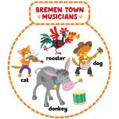 Bremen Town Musicians cartoon set