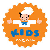 Sticker with illustration of little funny boy cook or chief and  Kids Menu logo
