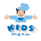 Kids Menu logo with illustration of little funny boy cook or chief