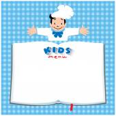 Design template background with illustration of little funny boy cook or chief Kids Menu logo and place for text in the shape of a book