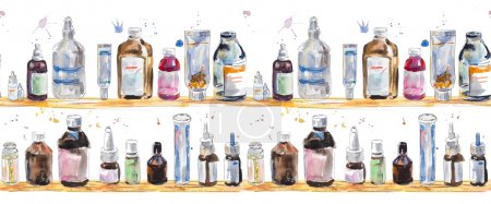 Seamless background with Medicine bottles
