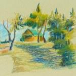 Oil pastels. Hand drawn illustration...