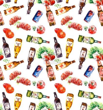 Photo pour Affiche Oktoberfest. Concept de fond pour les aliments et boissons. Aquarelle dessinée à la main - image libre de droit