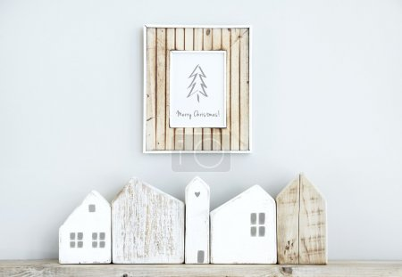 MERRY CHRISTMAS scandinavian  room interior with wooden frame, s