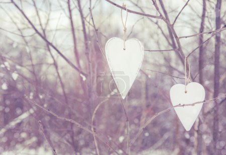 Two vintage hearts hanging on tree