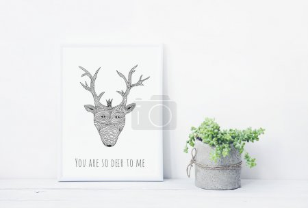Funny hand drawn poster YOU ARE DEER TO ME