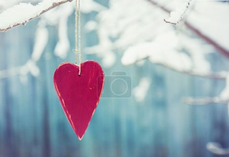 Photo for Heart shaped valentine's  hanging on the tree branch - Royalty Free Image