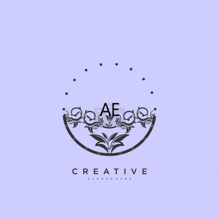 Illustration for AE Beauty vector initial logo art, handwriting logo of initial signature, wedding, fashion, jewerly, boutique, floral and botanical with creative template for any company or business. - Royalty Free Image