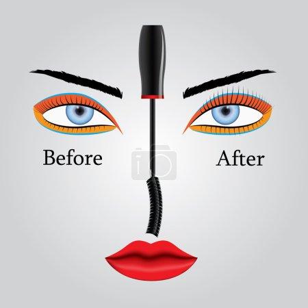 Illustration pour Illustration vectorielle montrant l'apparence des cils avant et après l'application du mascara. Résultats et avantages . - image libre de droit