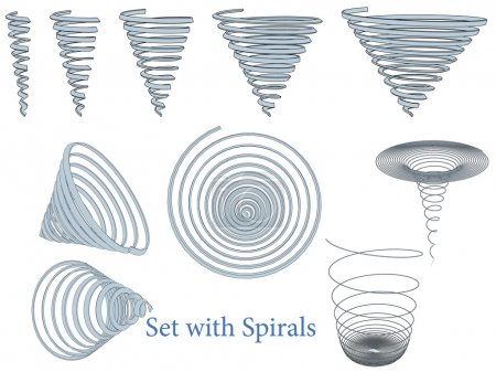 Illustration for Vector illustration of a set of spirals. Isolated. - Royalty Free Image