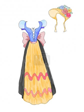 Dress in bavarian style from fairytale with flower hat drawn by watercolor