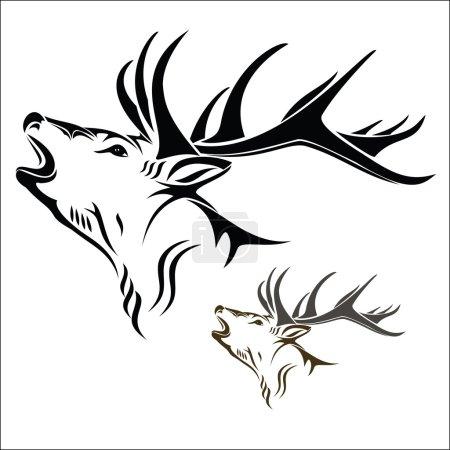 Illustration pour Illustration vectorielle : Tête de cerf sur fond blanc . - image libre de droit