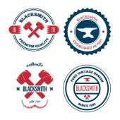 Collection of logo elements or logotypes for blacksmith and shop