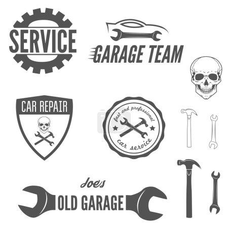 Illustration pour Collection de logo, badge, emblème et élément de logotype pour mécanicien, garage, réparation automobile et service automobile - image libre de droit