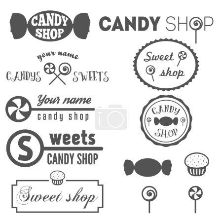 Illustration pour Ensemble d'éléments de logo et de logotype vintage pour boutique de bonbons et sucreries - image libre de droit