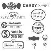 Set of vintage logo and logotype elements for sweet shop and candy shop