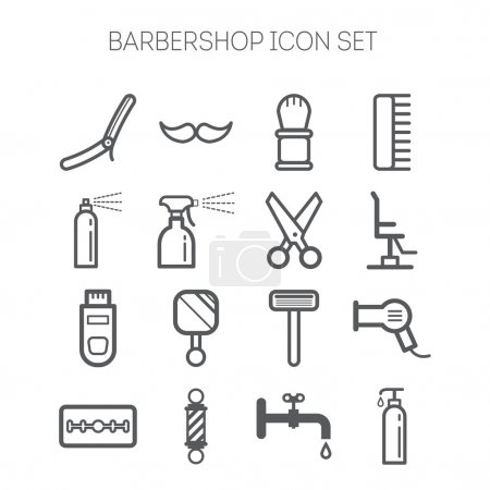Illustration for Set of simple monochromatic isolated barbershop icons - Royalty Free Image