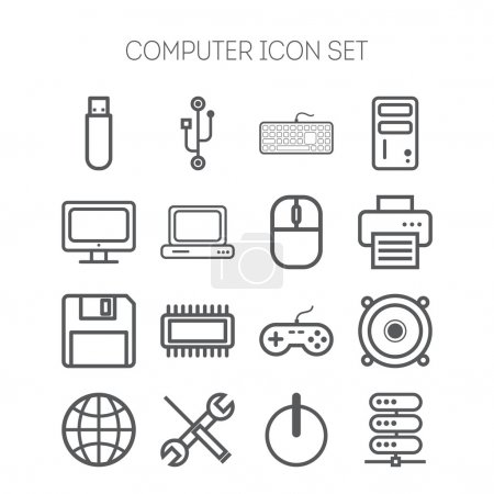 Set of simple isolated icons for computer, web, ta...