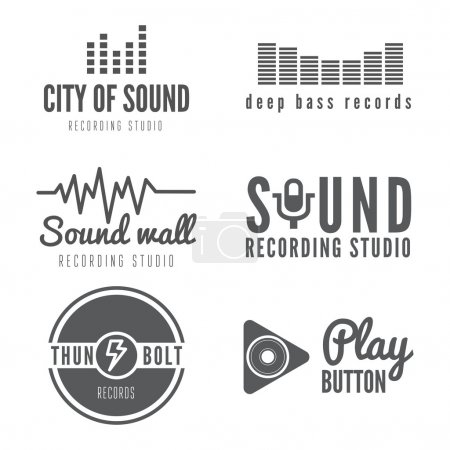 Set of logo, badge,label, sticker, emblem, print or logotype elements for sound recording studio, t-shirt or sound production
