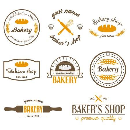 Illustration pour Ensemble de logo de boulangerie vintage et éléments de design - image libre de droit