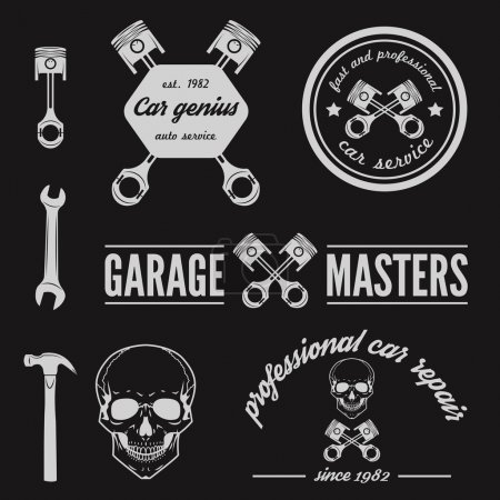 Illustration for Set of logo and logotype element for mechanic, garage, car repair and auto service - Royalty Free Image