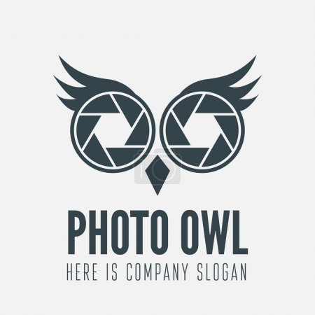 Logo, label, badge, emblem or logotype element with owl and shutter for business, photographer, studio, corporation or web