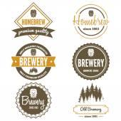 Set of vintage logo badge emblem or logotype elements for beer beer shop home brew tavern bar cafe and restaurant