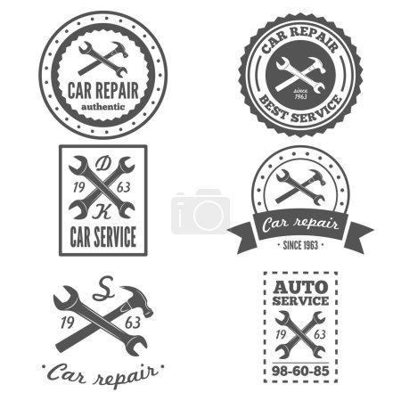 Illustration for Set of vintage mechanic labels, emblems and logo. Vector - Royalty Free Image