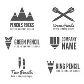 Logo badge label logotype elements with pencil for web business or other projects