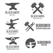 Set of logo badge label emblem and logotype elements for blacksmith