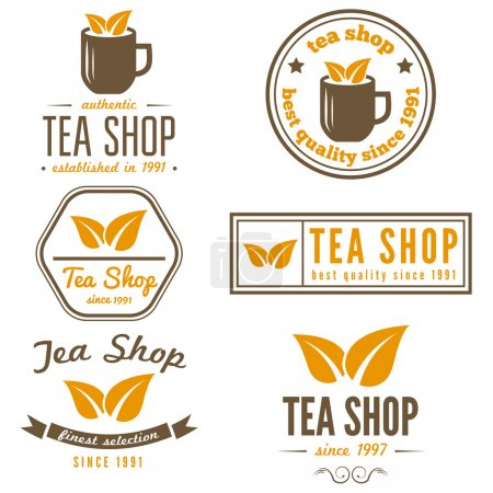 Set of vintage labels, emblems, and logo templates for coffee, tea shop, cafe, cafeteria, bar or restaurant
