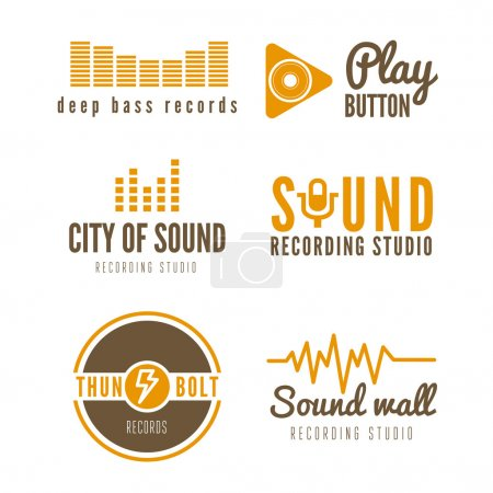 Set of logo, badge,label, sticker, emblem, print and logotype elements for recording studio or sound production