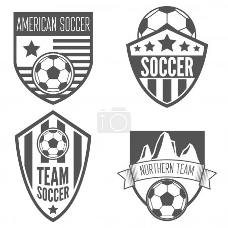 Set of vintage soccer football labels, emblem and designs