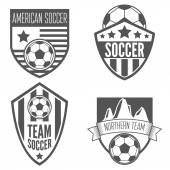 Set of vintage soccer football labels emblem and designs