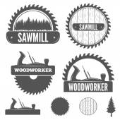 Set of badge labels or emblem elements for sawmill carpentry and woodworkers
